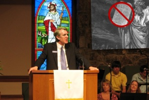 Pastor Cafferty addresses his congregation regarding the new Ten Commandments